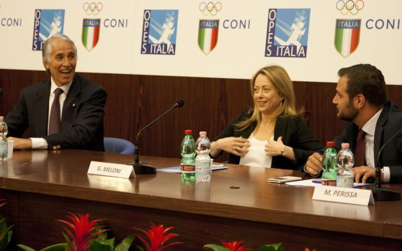 """Meloni e Malagò ricevono da OPES il Premio Città di Roma. """"Roma 2024 non è un obiettivo irraggiungibile"""""""