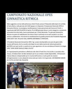 CAMPIONATO NAZIONALE GINNASTICA RITMICA