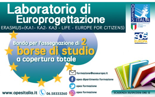 Bando per due borse di studio: al via con Europrogettazione