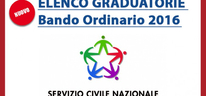 Servizio Civile – Pubblicate legraduatorierelative al Bando Ordinario 2016