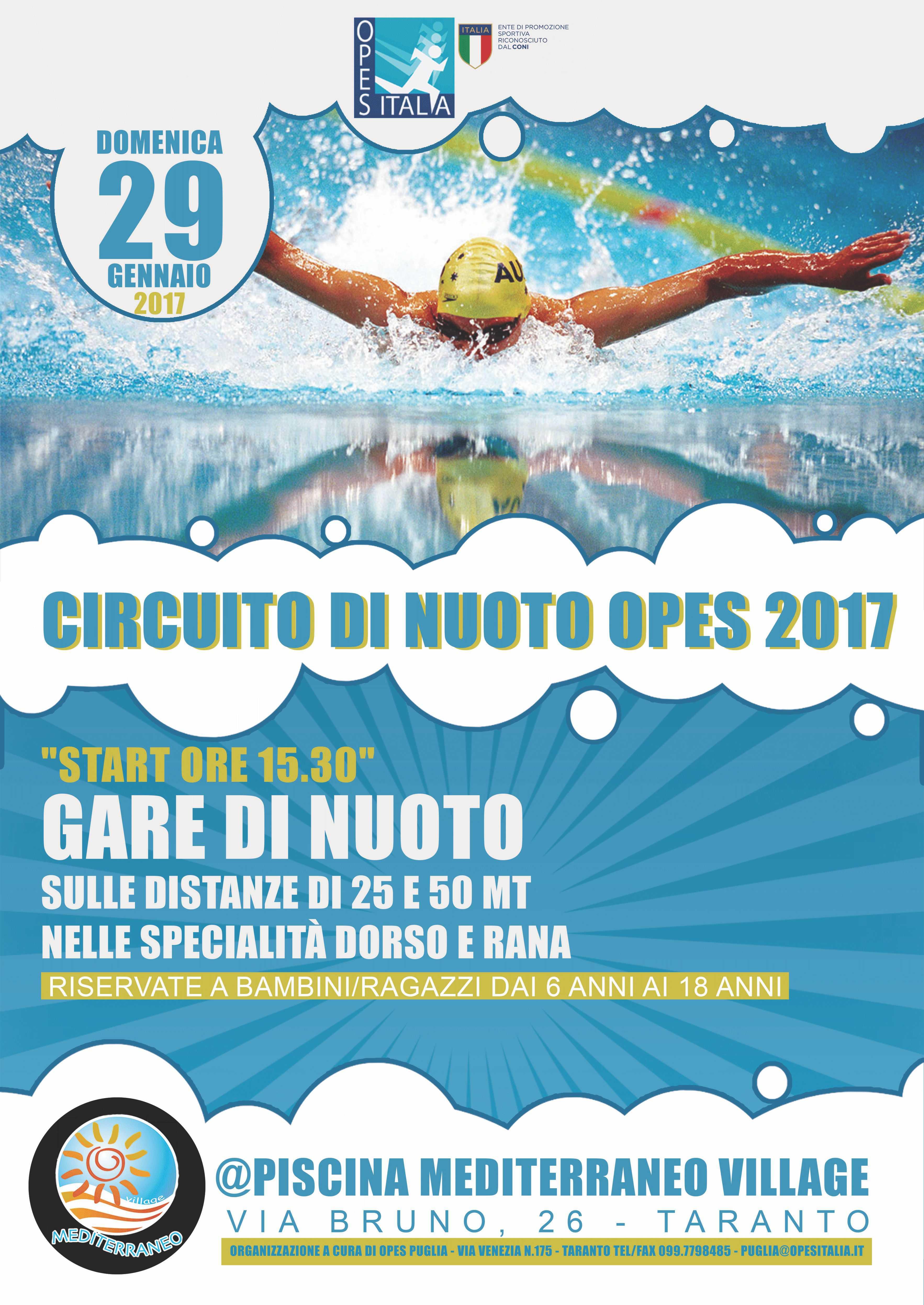 A taranto il circuito interprovinciale di nuoto opes - Piscina mediterraneo taranto ...