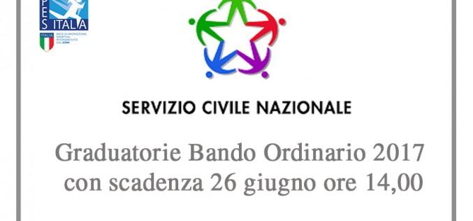 Servizio Civile: pubblicate legraduatorierelative al Bando Ordinario 2017 con scadenza 26 giugno ore 14,00