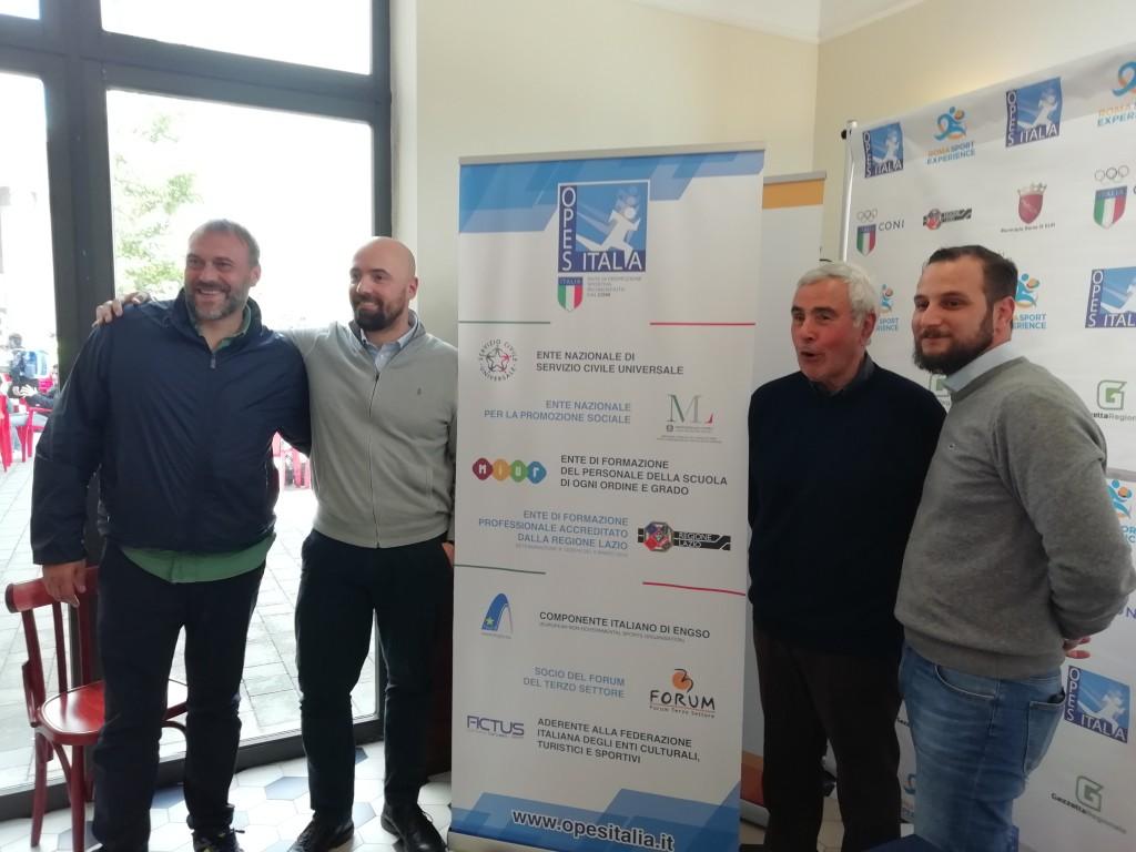 Da sinistra: Alessandro Battisti (presidente comitato provinciale OPES Roma), Juri Morico (Segretario Generale di OPES), Riccardo Viola (Presidente del CONI Regionale Lazio) e Marco Perissa (Presidente nazionale OPES).