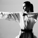 Young,Woman,Dressed,In,Traditional,Kimono,Practicing,Her,Karate,Moves
