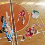 Volleyball,Game,Sport,With,Group,Of,Young,Beautiful,Girls,Indoor