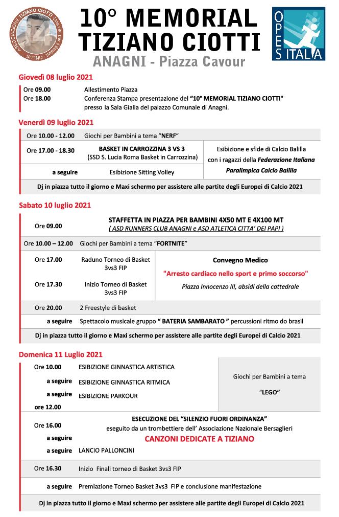 Programma 10° MEMERIAL TIZINO CIOTTI